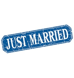 Just married blue square vintage grunge isolated vector