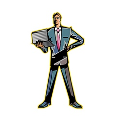 man holding laptop vector image