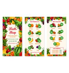 Menu price template of fruit shop or market vector