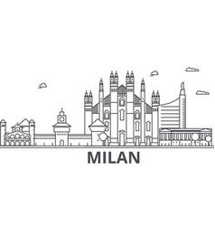 Milan architecture line skyline vector