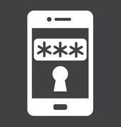 Mobile security solid icon security smartphone vector
