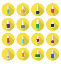 Multicolored nail polishes flat icon set vector