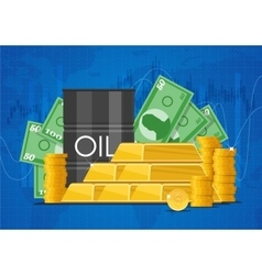Oil cask gold bars and piles of money business vector