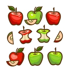 Red and green apples set vector