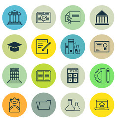 set of 16 education icons includes library paper vector image