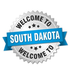 South dakota 3d silver badge with blue ribbon vector