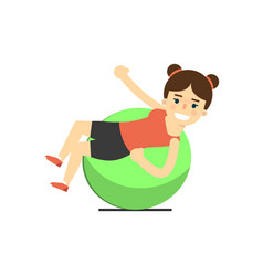 Sporty girl in sportswear with fitness ball vector