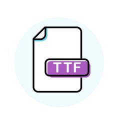 Ttf file format extension color line icon vector