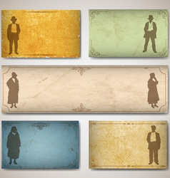 Vintage card with silhouettes vector image