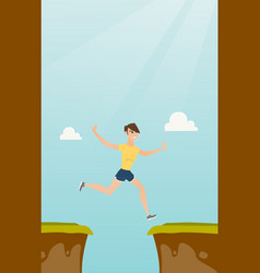 Young caucasian sportswoman jumping over the cliff vector
