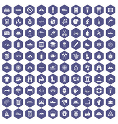 100 rafting icons hexagon purple vector