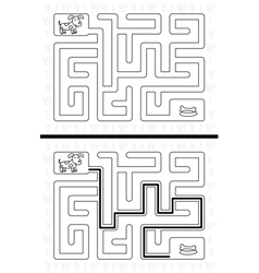 Easy dog maze vector