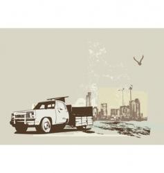 vintage truck vector image