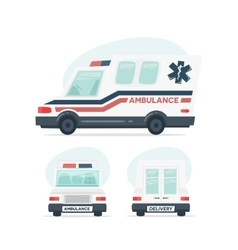 Set of cartoon ambulance car isolated objects on vector
