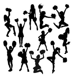 Cheerleaders action and activity silhouettes vector