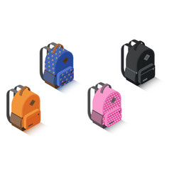 set isometric backpack different color vector image