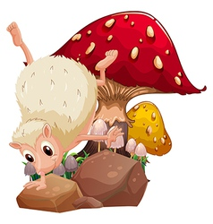 A molehog playing near the giant red mushroom vector