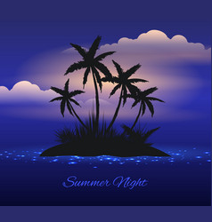 summer night tropical island with palm vector image