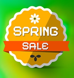 Spring sale orange label on green bokeh background vector