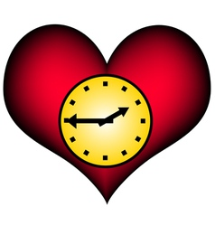 Lifetime - red heart with clock vector