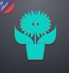 Flowers in pot icon symbol 3d style trendy modern vector