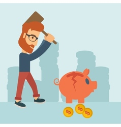 Man breaking piggy bank vector