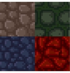 Set of pixel stone textures vector