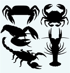 Set crustaceans vector image