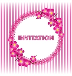 Invitation vintage card with beautiful sacura vector image