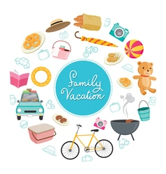 Family vacation objects icons on round frame vector