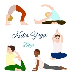 Yoga kids set gymnastics for children vector
