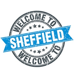 Welcome to sheffield blue round vintage stamp vector