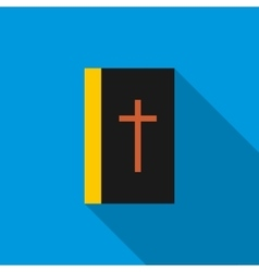 Black bible book icon flat style vector image vector image