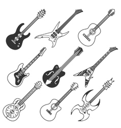 Black guitars silhouettes vector image