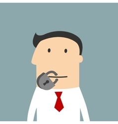 Cartoon businessman with a lock on the mouth vector