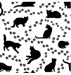 cats seamless pattern kitten silhouette and vector image vector image