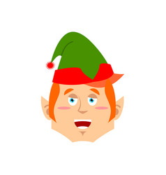 Christmas elf happy emoji santa helper merry vector