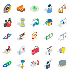Conference center icons set isometric style vector