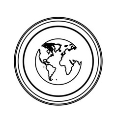 Figure emblem earth planet icon vector