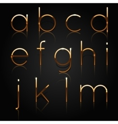 Golden alphabet set of golden letters isolated on vector