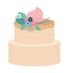 Hand drawing color two-story cake with pink vector