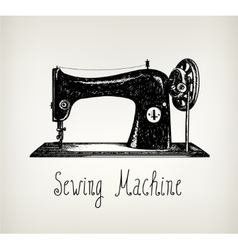 Hand drawn retro vintage sewing machine vector