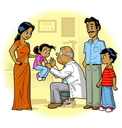 Indian family doctor visit vector