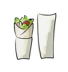 Kebab with pita bread fast food sketch design vector