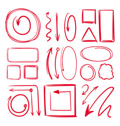 marker underlines and different doodle frames vector image vector image