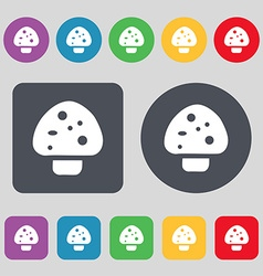 Mushroom icon sign a set of 12 colored buttons vector