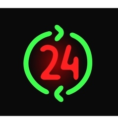 Neon sign with the word 24 vector image