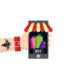 Online mobile shopping concept background vector image vector image