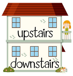 Opposite wordcard for upstairs and downstairs vector