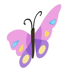 Pink violet butterfly icon isometric 3d style vector